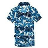 CICIYONER Herren T-Shirt Sport Tees Schnelltrocknend Bluse TopsMänner Strand Bedrucktes Hemd Lässige Kurze Ärmel Freizeithemd (XL, Blau)