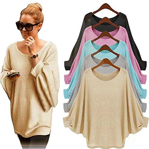 Blusa-para-Mujeres-Rcool-Blusa-Suelta-de-Talla-Grande-Oversized-Camiseta-con-Mangas-Largas-de-Murcilago-T-Shirt-Pullover-Sudadera