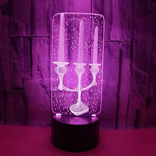 Zcmzcm - Lampada da tavolo 3D LED con cavo di illuminazione decorativa a forma di candela, USB, multicolore