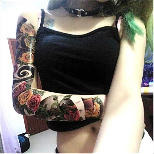 Ruofengpuzi adesivo tatuaggiotatuaggio realistico resistente del braccio del fiore di seta variopinto degli autoadesivi del tatuaggio degli uomini e delle donne rose del braccio completo