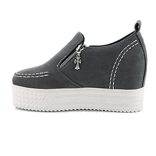 AllhqFashion Damen Mattglasbirne Rund Zehe Reißverschluss Rein Pumps Schuhe Gray-Frosted