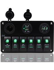 6Gang Panneau Interrupteur à bascule 12V-24V Dual USB prise de courant Voltmètre numérique Fxc pour voiture bateau marine