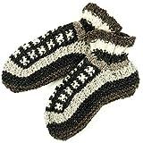 GURU-SHOP Pantofole in Lana Pantofole da Capanna Hippie - Grigio/Beige, Unisex - Adulti, Size:37-39, Pantofole di Lana