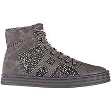 c9b1d774a6513 Hogan Rebel scarpe sneakers bambina alte camoscio nuove r141 allacciato  tessuto grigio EU 34 HXC1410P991E1AB401