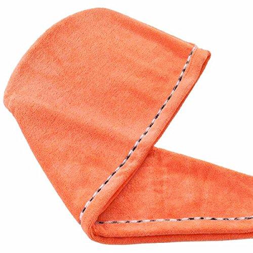 FTHIYK Bonnet De Douche Ponçage épaississement Coiffe Sèche Augmentation Eau Séchage Rapide Peluches Bord De Couleur Serviette 25 * 65cm,Orange