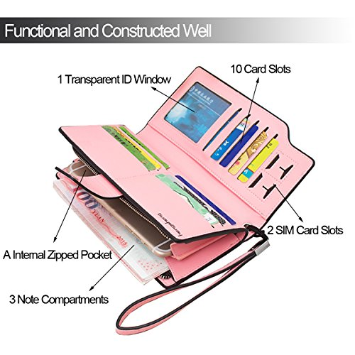 Portafoglio donna in pelle da donna Borsa Button frizione con carte di credito, tasca per banconote, tasca con zip, slot per sim e finestra per ID, in confezione regalo, rosa (Pink), Taglia unica Pink