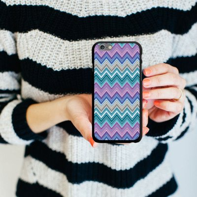 Apple iPhone 5 Housse étui coque protection Zigzag couleurs Motif mode CasDur noir