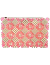 Maitreyee Enterprise Women's Clutch (Pink and White)