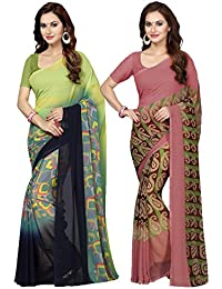 Ishin Combo Of 2 Faux Georgette Green & Beige Printed Women's Sari/ Sarees