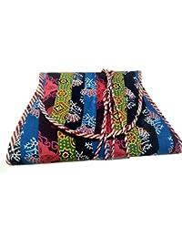 Srijanavari Handmade Designer Embroidered Rajasthani Clutch Bag For Women's(multi)