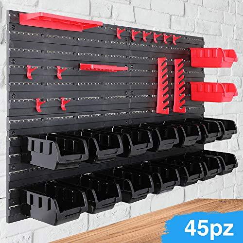 Bakaji pannello da parete con box contenitori portautensili e stand attrezzi, plastica rigida, multicolore, 95 x 54 cm