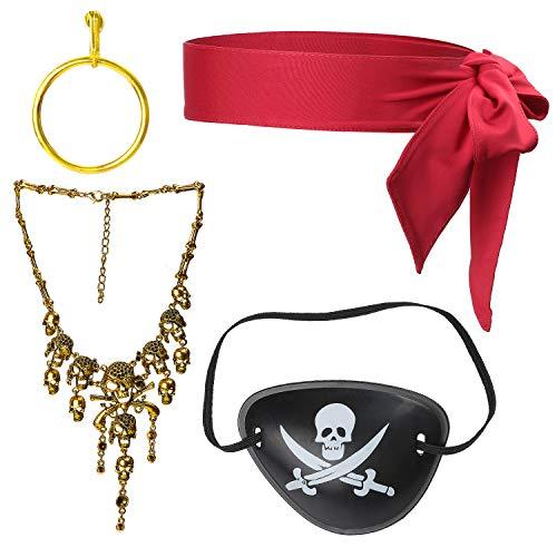 Beelittle 4 Piezas Juego de Accesorios para Disfraz de capitán Pirata Lazo Rojo Cabeza Pañuelo Envoltura Bandana Pirata Parche en el Ojo Collar con aretes Dorados Kit de Accesorios para Piratas (B)