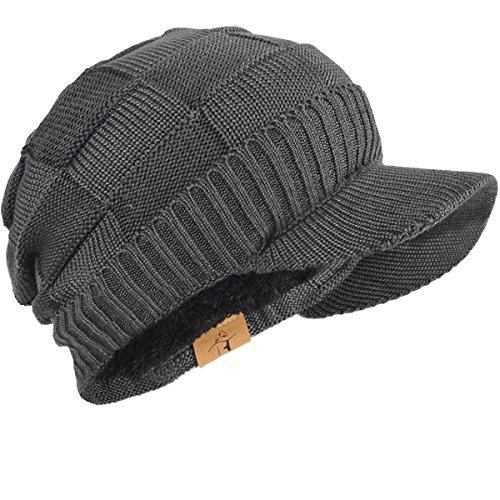 FORBUSITE Fleece Mütze Winter,Herren Warm Visor Strickmütze,Fleece-Innenfutter-Slouch-Beanie-B322(Grau) Fleece-visor Beanie