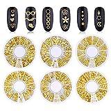 Kalolary Metal Nail Studs, 3D Punk Stripe Heart Nest Mordern Hollow Out Star Moon Floral & Plants Rivet Gems Punk Nail Art Jewels DIY Decoration (6 Boxes)
