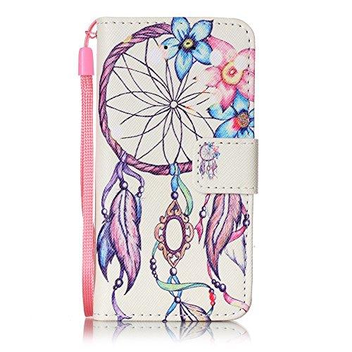 mo-beauty ® - Custodia a portafoglio in ecopelle per iPhone 7, include uno schermo protettivo in vetro temperato, Ecopelle, Cute owl, iPhone 5/5S/SE Wind chimes #2