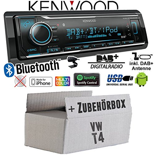 Autoradio Radio Kenwood KMM-BT504DAB - DAB+ | Bluetooth | iPhone/Android | Spotify | VarioColor - Einbauzubehör - Einbauset für VW Bus T4 - JUST SOUND best choice for caraudio