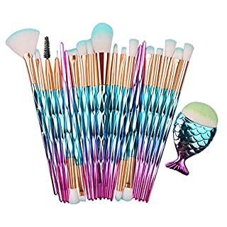 Syaoyao Make Up Pinsel Set 21pcs Kosmetikpinsel Lidschatten Gesichtspinsel Foundation Eyeliner Schminkpinsel 21 Blau Pink