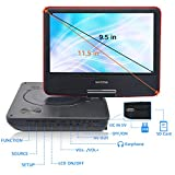 "WONNIE 11.5"" Portable DVD Player with 9.5 inches 270° Swivel Screen, Best Gift for Kids, Support USB/SD Slot, Direct Play in Formats AVI/MP3/JPEG/RMVB (11.5, Red)"