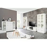 Fantastisch Wohnzimmer Landström 151 Weiß 4 Teilig Lowboard Vitrine Highboard  Bücherregal Landhausmöbel