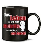 Golebros Das Leben ist wie eine Klobrille Man Macht viel durch 5110 Handwerker Büro Kollege Arbeit Fun Spruch Tasse Lustig Witzig Becher Kaffeetasse Schwarz