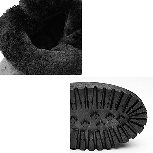 Chaussures En Peluche Bottes Femme Court Talon Plat Fond Chaud Occasionnels Coton Épais D'hiver À La Cheville, Grey-gray-40 35