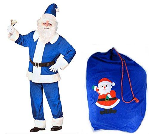 Scherzwelt Blauer Luxus - Weihnachtsmann aus SAMT Kostüm Gr. XL mit blauem Sack Weihnachten