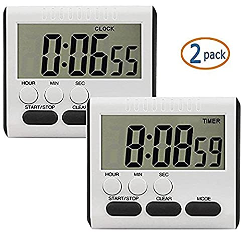 2 PACK EVELTEK Digital Kitchen Alarm Timer/Clock with Large LCD Display Loud Sounding Alarm,Countdown or CountUp for Cooking/School /Games (Black Key)