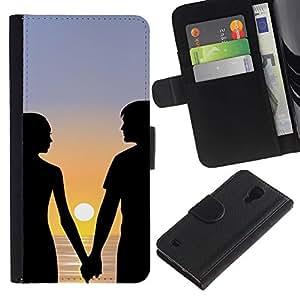 UNIQCASE - Samsung Galaxy S4 IV I9500 - Sunset Couple Romance - PU Leder Schlank Case Cover Schwarz Kunststoff Case Cover Shell Rüstung Hülle