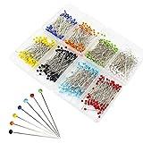 Ulable Ball Head pins Sewing quilting extra vetro testa Dressmaker pins per sartoria gioielli componenti fiore decorazione con trasparente casi, 8colori, 800PCS