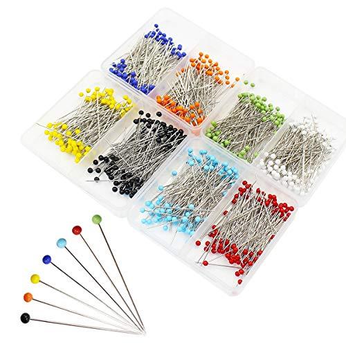 Ulable 800pcs Ball Head Pins Nähen Quilting Extra Glas Kopf Stecknadeln zum Schneidern Jewelry Komponenten Blume Dekoration mit Transparent Fällen, 8 Farben