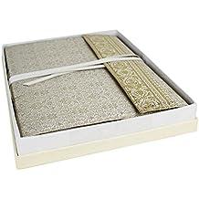 Sari Álbum de Fotos Encuadernado a Mano Grande Blanco, Páginas Estilo Clásico (34cm x 26cm x 4cm)