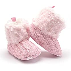 hibote Bambino Pattini Crochet Knit Pile Stivali Ragazza Lana Della Neve Presepe Inverno Booties