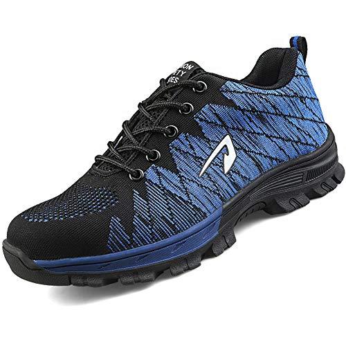 SUADEEX Arbeitsschuhe Damen Herren Sicherheitsschuhe s3 Leicht Stahlkappen Sportlich Schuhe, Blau, 44 EU