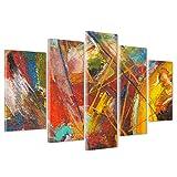 QUADRO SU TELA CANVAS - INTELAIATO - PRONTO DA APPENDERE - ASTRATTO Pollock Style - Effetto Dipinto a mano - 170x86cm (cod.250)