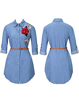 Bluse Sannysis Langarm Rose Gestickt Lange Hemdkleid Top Shirts