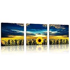 Idea Regalo - CUFUN Art - Girasoli nel Cielo Blu del Tramonto Stampe su Tela del Fiore Immagini incorniciate del Mare per Il Ministero degli Interni 30x30cmx3pcs