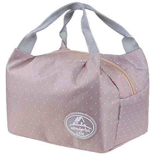 Anpro Sac Repas Sac à Déjeuner Isotherme Imperméable Pliable Lunch Bag Organiseur de Voyage avec Deux Ruban Elastique en Polyester