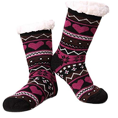 SOWLFE Womens Fuzzy Slipper Socks Warm Thick Heavy Fleece Lined Fluffy Christmas Stockings Highs Stockings Winter