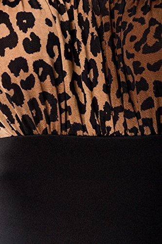 Polka dot belsira pencilkleid a50002 léopard-top en 2 couleurs - schwarz (Sw 16)