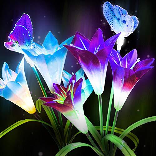 Lightsjoy Giardino Esterno A Luci Solari A Fiore, 2 Luci Solari Esterne A Pacco, con 6 Giglio 2 Farfalle, Luci per Esterni A LED Luci Multicolori per Esterni A LED, per Giardino, Patio, Cortile