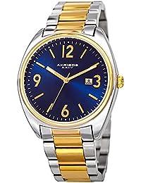 Akribos XXIV Men's Quartz Stainless Steel Casual Watch, Color Silver-Toned (Model: AK957TTG)