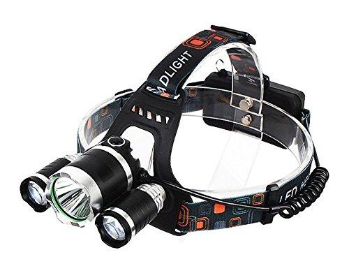 Kekexili tragbare 3 Led-lampen Stirnlampe Wasserdicht Kopflampe Taschenlamp T6 + 2 * Q5 Scheinwerfer 4 Modi 5000 Lumen für Nachtangeln, Jogger, Wanderer, Höhlenforscher, Biker, Zeitungsausträger oder auch beim Handwerken usw.