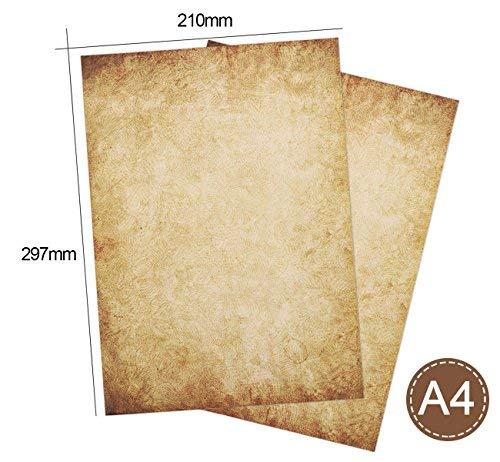 50 Pezzi Verde Formato DIN A4 21,0 x 29,7 cm Adatto a Tutte Le stampanti Fronte-Retro Stampato Partycards Involucro Vintage Design retr/ò   Grammatura A4 90 g//m/² 50 Involucro