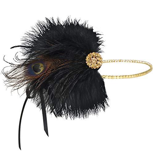 Coucoland 1920s Stirnband Feder Damen 20er Jahre Stil Flapper Charleston Haarband Great Gatsby Damen Fasching Kostüm Accessoires (Gold)