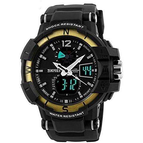 pkaty da uomo orologio sportivo LED luce multifunzione Data Allarme settimana analogico-digitale da polso watches-gold