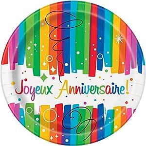 Unique Party-56905-Paquete de 8platos de cartón-cumpleaños feliz lazos multicolor-23cm