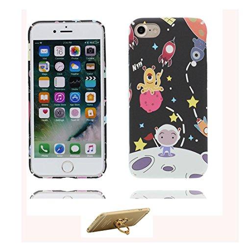 iPhone 7 Plus Custodia, iPhone 7 Plus Copertura 5.5, [ Peso leggero ultra & sottile Silicone Gel Soft Gel ] iPhone 7 Plus Case [ Cartoon Stelle Luna Terra ], antiurto e ring supporto (Libero) Color 6