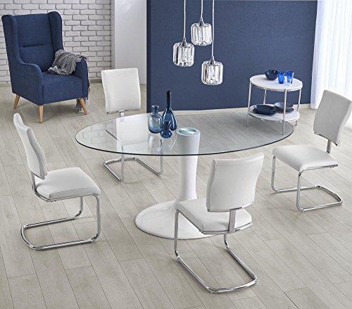CARELLIA Tavolo da Pranzo Ovale-L: 180cm x P: 100cm x H: 76cm-Bianco/Trasparente