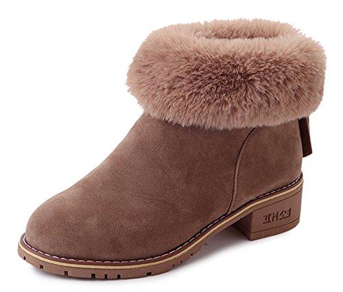 Bloc Kaki Low Femme Fourrées Aisun Boots Confortable Bottines Talon WnUPOW