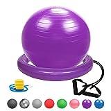 Glamexx24 Weich Gymnastikball Dick Anti-Burst Sitzball Peziball Swissball Fitnessball Ballpumpe, Ballschale, Widerstandsbändern,Pilates Ball Yogaball